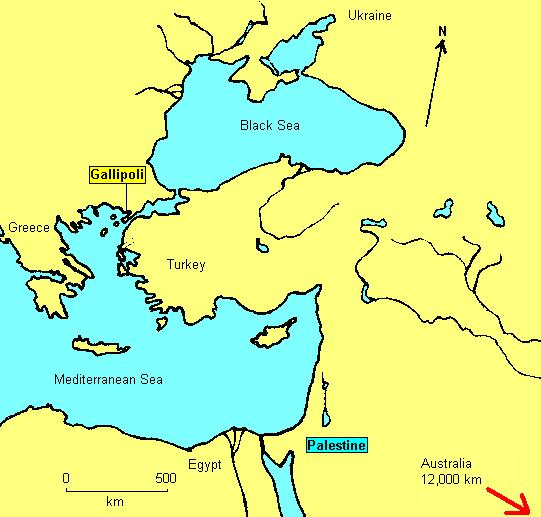 Location of Gallipoli and Palestine