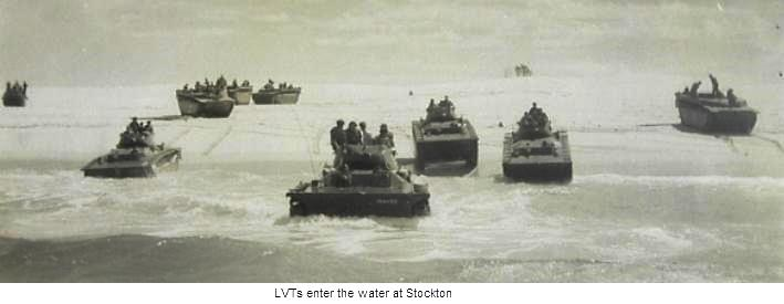 LVTs enter the water at Stockton