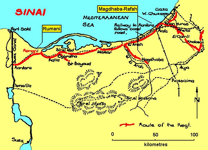 Location of the Sinai Battles