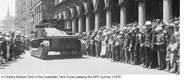 Vickers Medium Tank passes the GPO Sydney