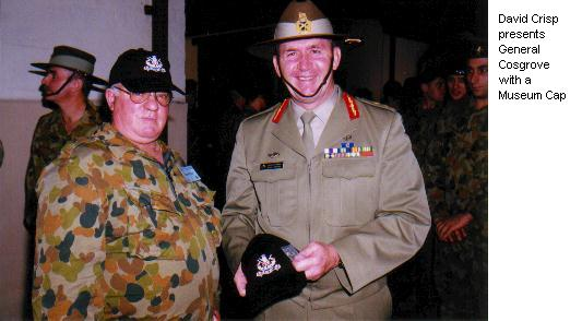 David Crisp presents General Cosgrove with a Museum Cap