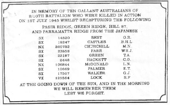A plaque honouring ten members of the 2/l0th Aust. Infantry Bn. killed on Parramatta Ridge