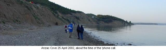 Anzac Cove 25 April 2002, about the time of the 'phone call.