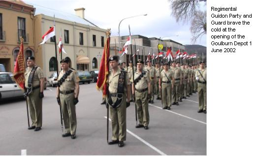 Regimental Guidon Party and Guard brave the cold at the opening of the Goulburn Depot 1 June 2002