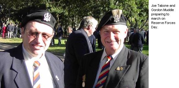 Joe Tabone and Gordon Muddle preparing to march on Reserve Forces Day.