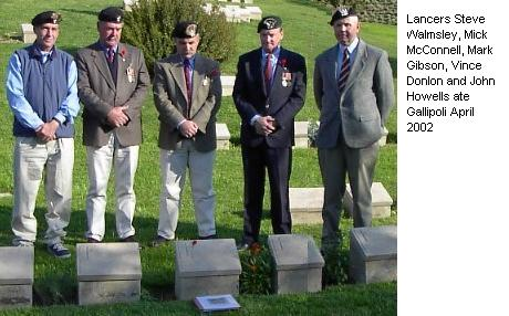 Lancers Steve Walmsley, Mick McConnell, Mark Gibson, Vince Donlon and John Howells ate Gallipoli April 2002