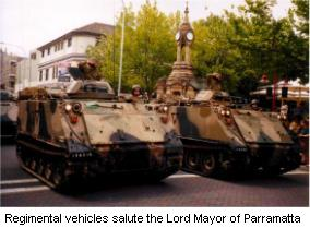 Regimental vehicles salute the Lord Mayor of Parramatta