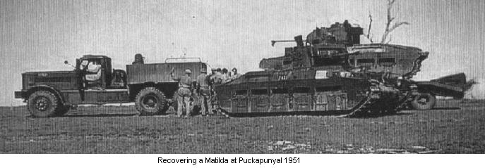 Recovering a Matilda at Puckapunyal 1951