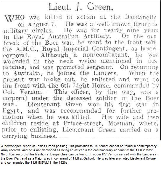 A newspaper clipping marking James Green's passing