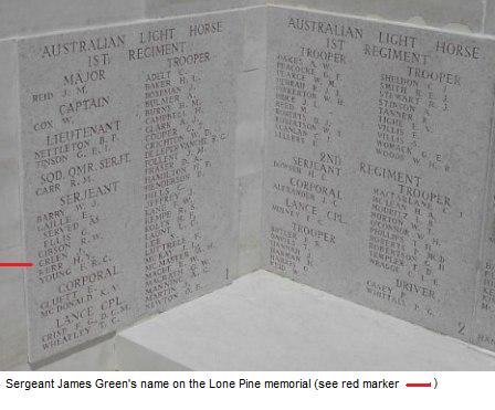 James Green's name on the Lone Pine Memorial
