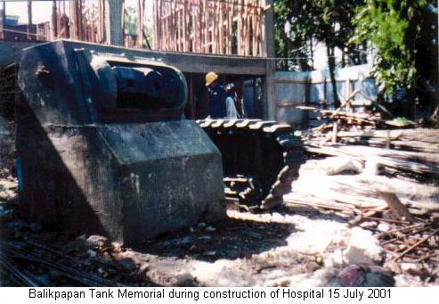 Balikpapan Tank Memorial during construction of Hospital 15 July 2001