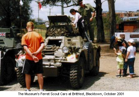 The Museum's Ferret Scout Cars at Brittfest, Blacktown, October 2001