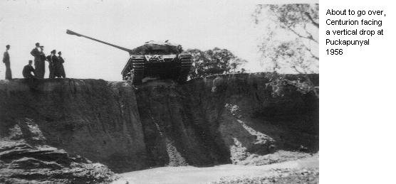 About to go over, Centurion facing a vertical drop at Puckapunyal 1956