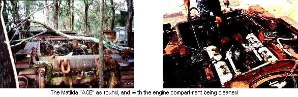"The Matilda ""ACE"" as found, and with the engine compartment being cleaned."