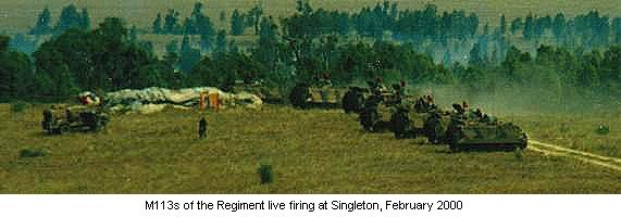 M113s of the Regiment live firing at Singleton, February 2000